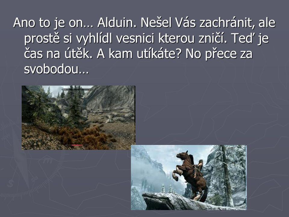 Ano to je on… Alduin. Nešel Vás zachránit, ale prostě si vyhlídl vesnici kterou zničí.