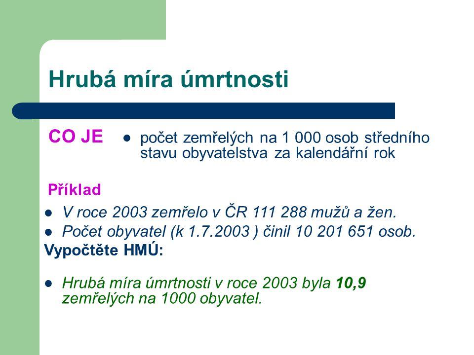 Hrubá míra úmrtnosti CO JE počet zemřelých na 1 000 osob středního stavu obyvatelstva za kalendářní rok Příklad V roce 2003 zemřelo v ČR 111 288 mužů a žen.