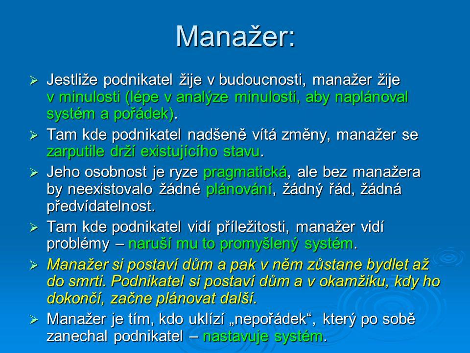 Manažer:  Jestliže podnikatel žije v budoucnosti, manažer žije v minulosti (lépe v analýze minulosti, aby naplánoval systém a pořádek).  Tam kde pod