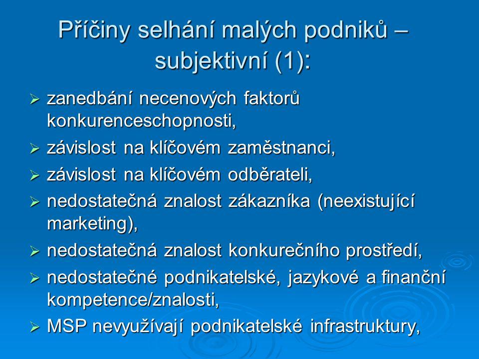 Příčiny selhání malých podniků – subjektivní (1) :  zanedbání necenových faktorů konkurenceschopnosti,  závislost na klíčovém zaměstnanci,  závislost na klíčovém odběrateli,  nedostatečná znalost zákazníka (neexistující marketing),  nedostatečná znalost konkurečního prostředí,  nedostatečné podnikatelské, jazykové a finanční kompetence/znalosti,  MSP nevyužívají podnikatelské infrastruktury,  MSP nevyužívají podnikatelské infrastruktury,