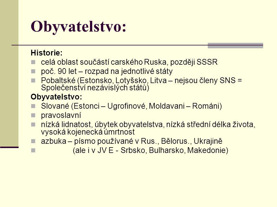 Obyvatelstvo: Historie: celá oblast součástí carského Ruska, později SSSR poč. 90 let – rozpad na jednotlivé státy Pobaltské (Estonsko, Lotyšsko, Litv