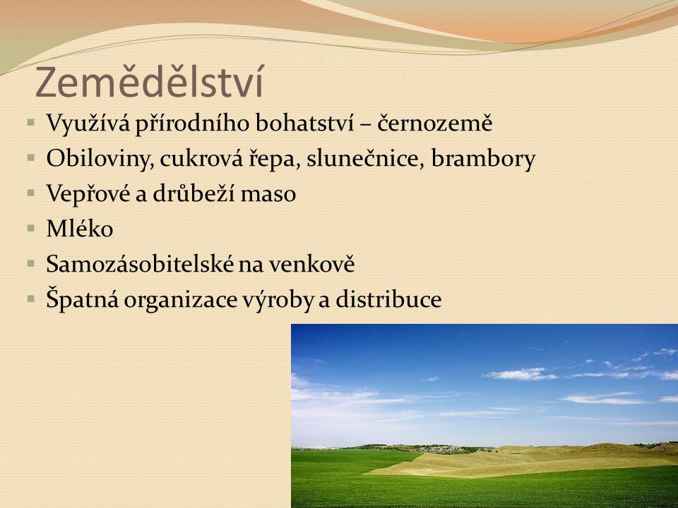 Zemědělství  Využívá přírodního bohatství – černozemě  Obiloviny, cukrová řepa, slunečnice, brambory  Vepřové a drůbeží maso  Mléko  Samozásobitelské na venkově  Špatná organizace výroby a distribuce