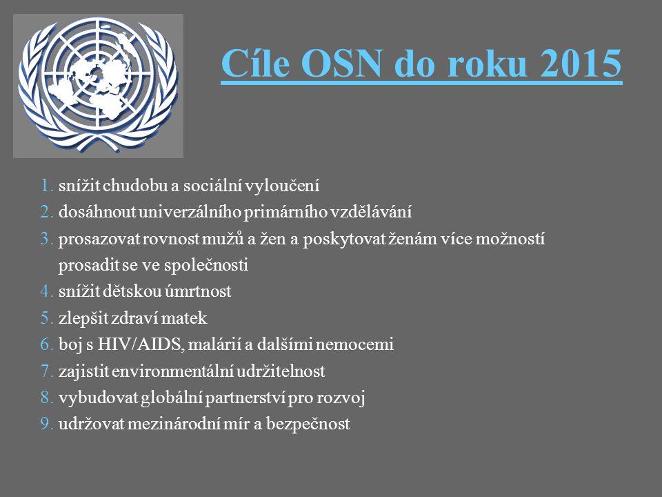 Cíle OSN do roku 20152015 1. snížit chudobu a sociální vyloučení 2. dosáhnout univerzálního primárního vzdělávání 3. prosazovat rovnost mužů a žen a p