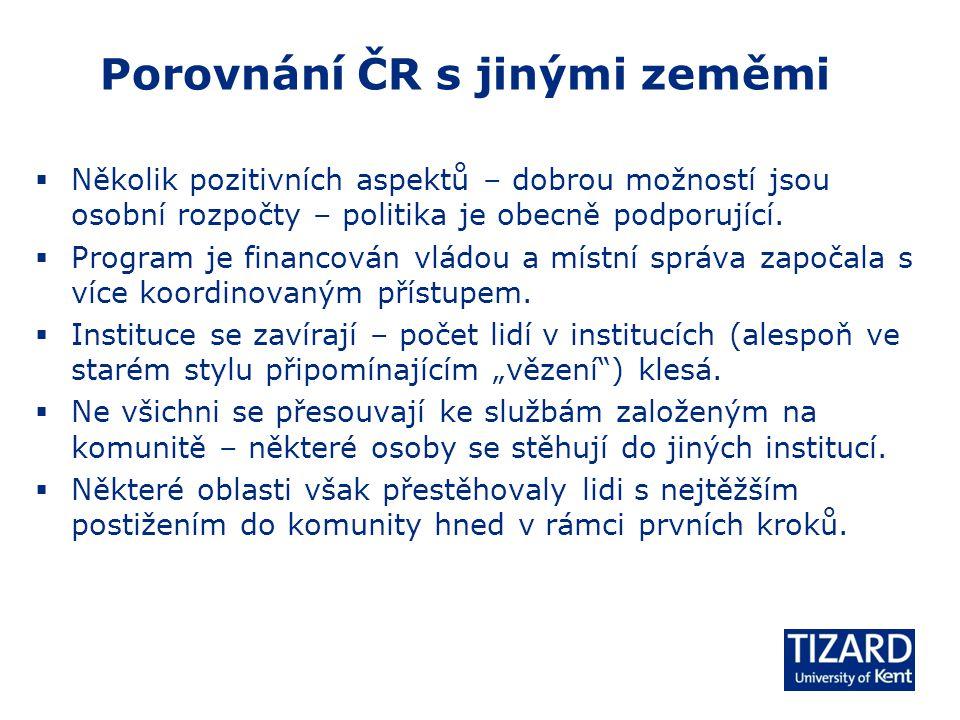 Porovnání ČR s jinými zeměmi  Několik pozitivních aspektů – dobrou možností jsou osobní rozpočty – politika je obecně podporující.