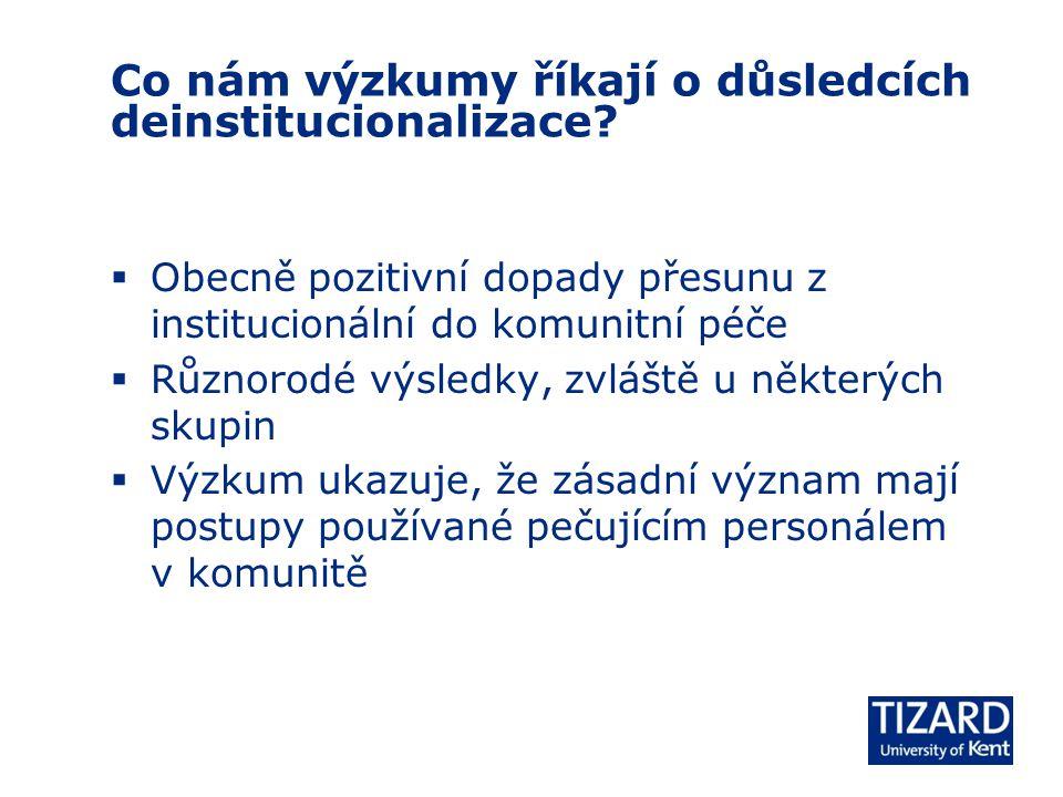 Co nám výzkumy říkají o důsledcích deinstitucionalizace.