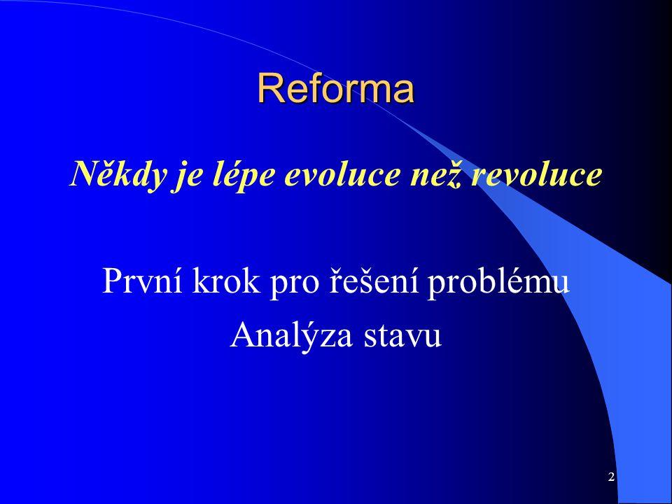 Reforma Někdy je lépe evoluce než revoluce První krok pro řešení problému Analýza stavu 2