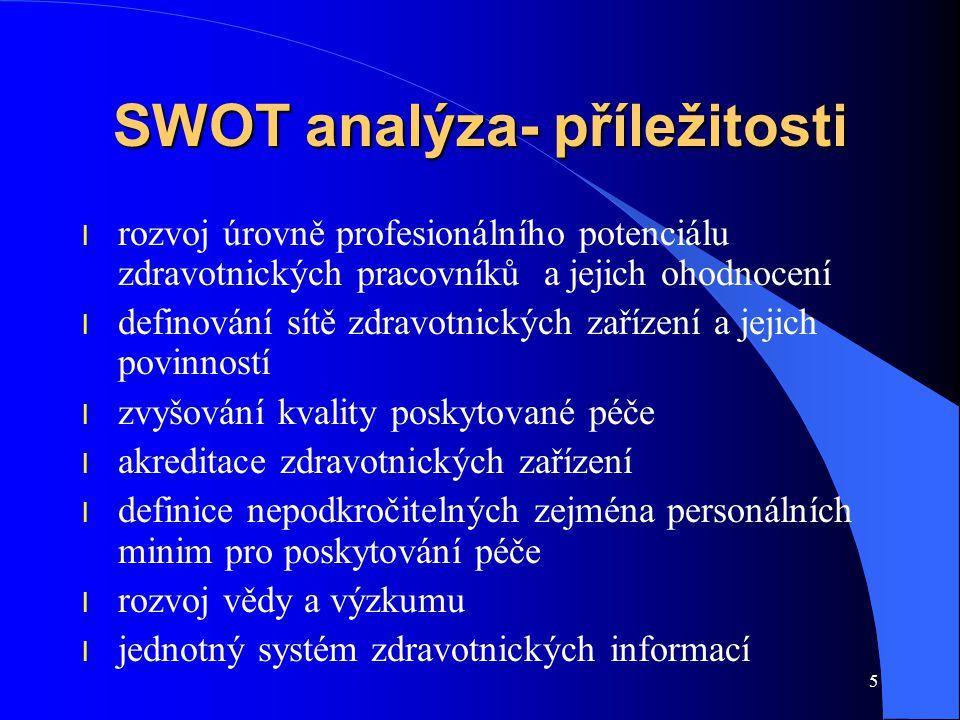 5 SWOT analýza- příležitosti l rozvoj úrovně profesionálního potenciálu zdravotnických pracovníků a jejich ohodnocení l definování sítě zdravotnických