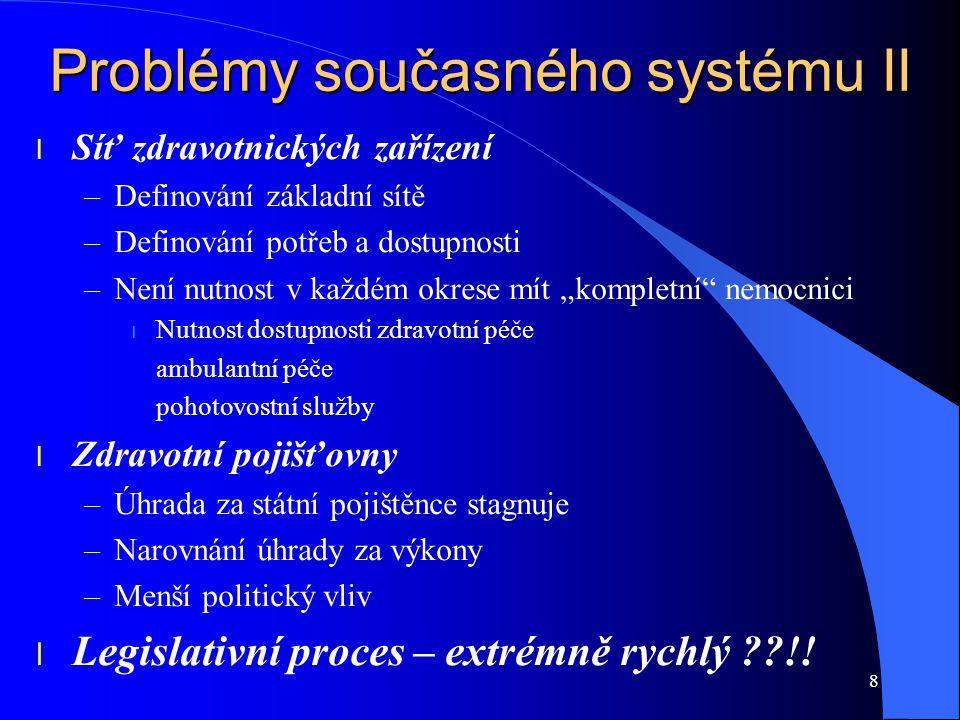 Problémy současného systému II l Síť zdravotnických zařízení –Definování základní sítě –Definování potřeb a dostupnosti –Není nutnost v každém okrese