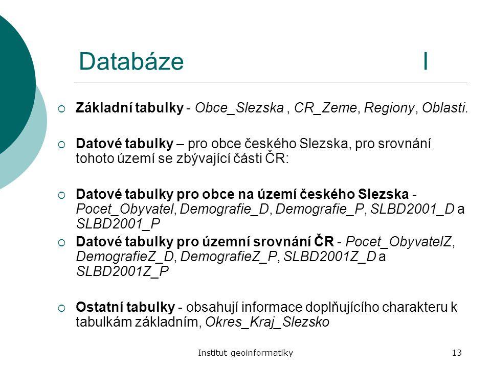 Institut geoinformatiky13 DatabázeI  Základní tabulky - Obce_Slezska, CR_Zeme, Regiony, Oblasti.  Datové tabulky – pro obce českého Slezska, pro sro