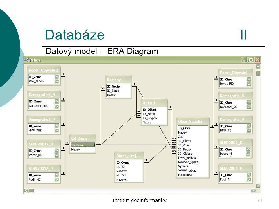 Institut geoinformatiky14 DatabázeII Datový model – ERA Diagram