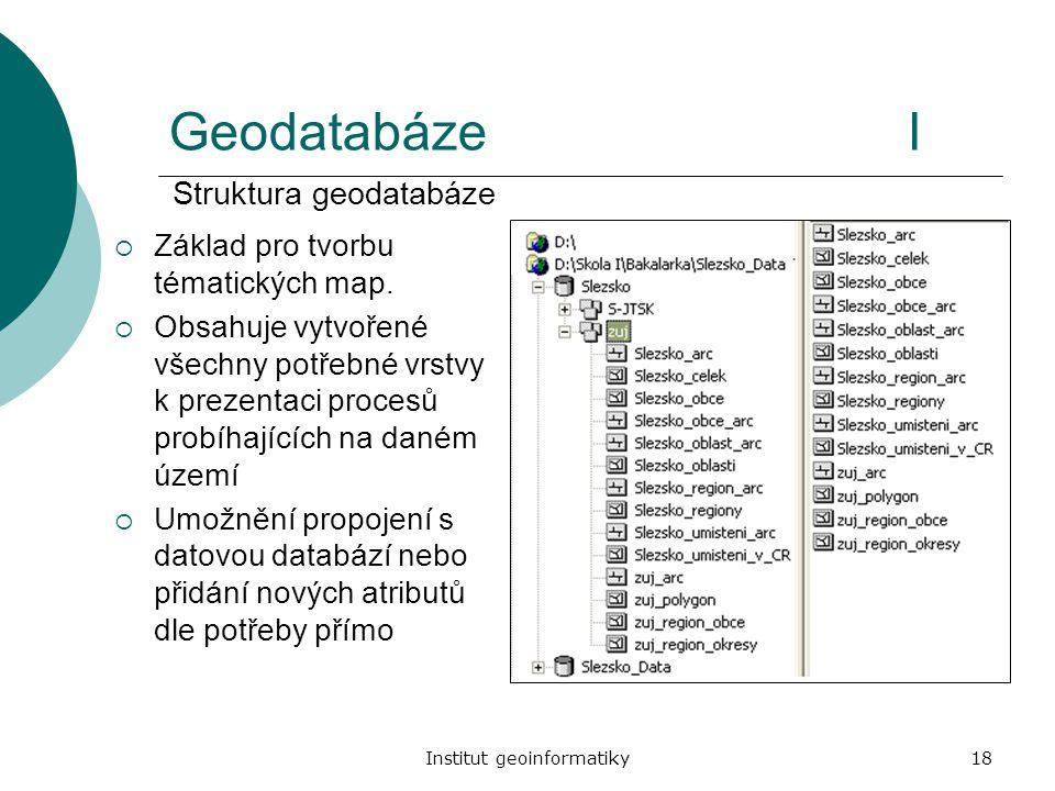 Institut geoinformatiky18 GeodatabázeI  Základ pro tvorbu tématických map.  Obsahuje vytvořené všechny potřebné vrstvy k prezentaci procesů probíhaj