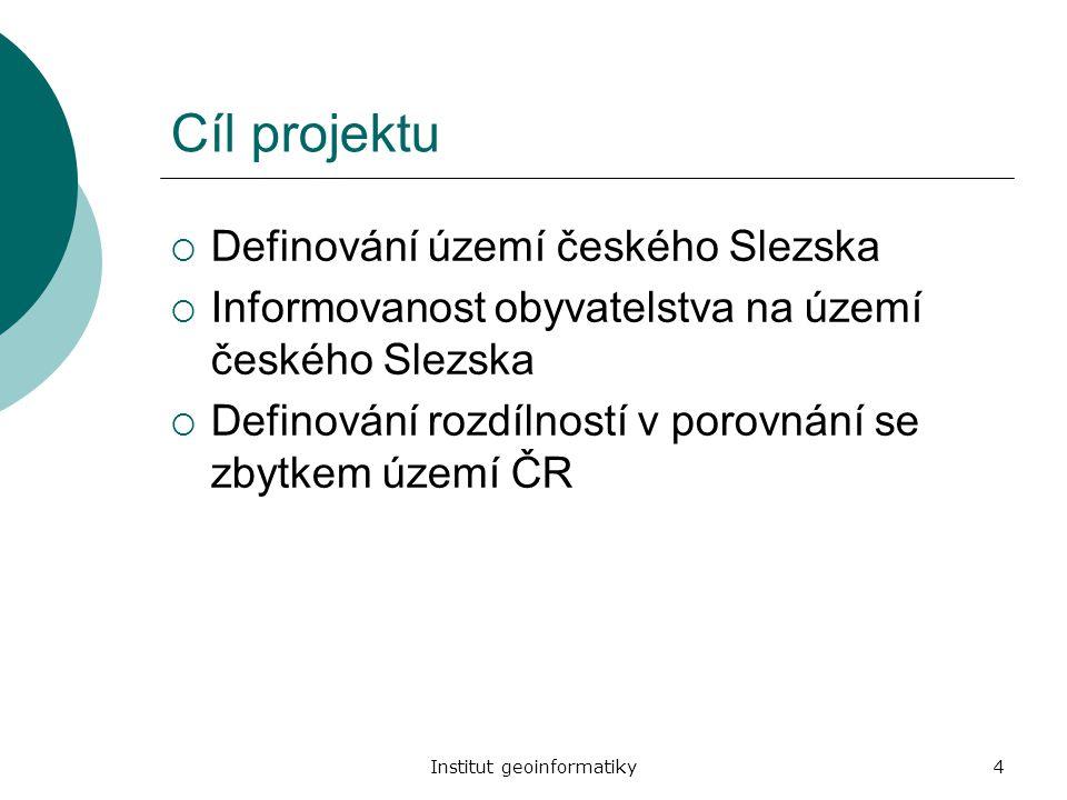 Institut geoinformatiky4 Cíl projektu  Definování území českého Slezska  Informovanost obyvatelstva na území českého Slezska  Definování rozdílnost