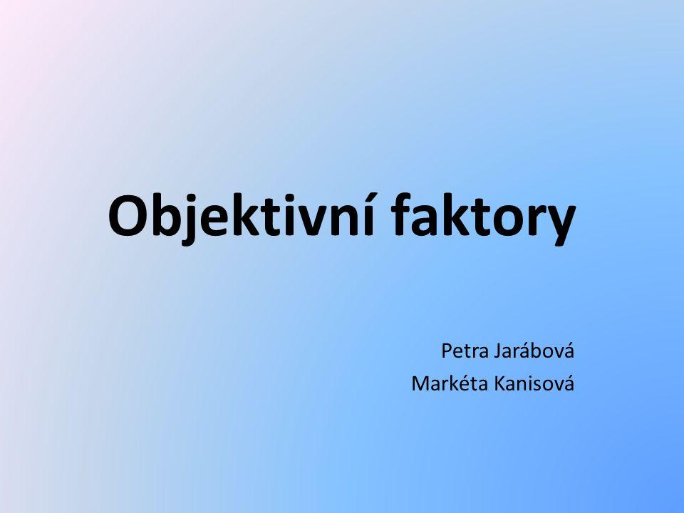Objektivní faktory Petra Jarábová Markéta Kanisová