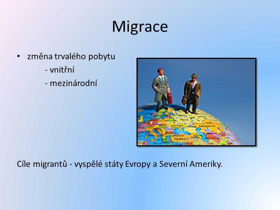 Migrace změna trvalého pobytu - vnitřní - mezinárodní Cíle migrantů - vyspělé státy Evropy a Severní Ameriky.