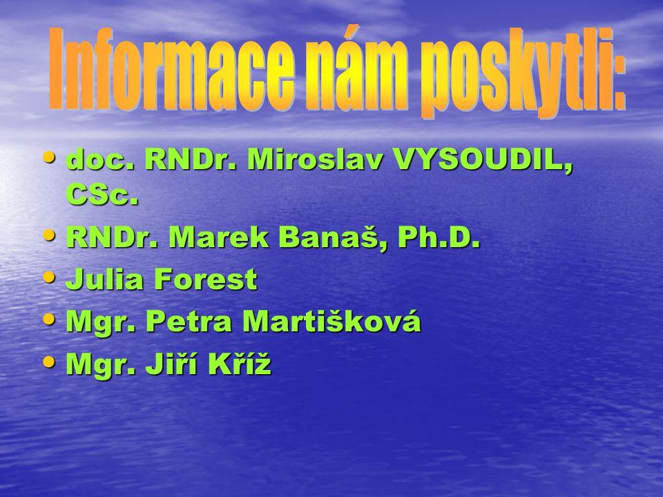 doc. RNDr. Miroslav VYSOUDIL, CSc. doc. RNDr. Miroslav VYSOUDIL, CSc. RNDr. Marek Banaš, Ph.D. RNDr. Marek Banaš, Ph.D. Julia Forest Julia Forest Mgr.