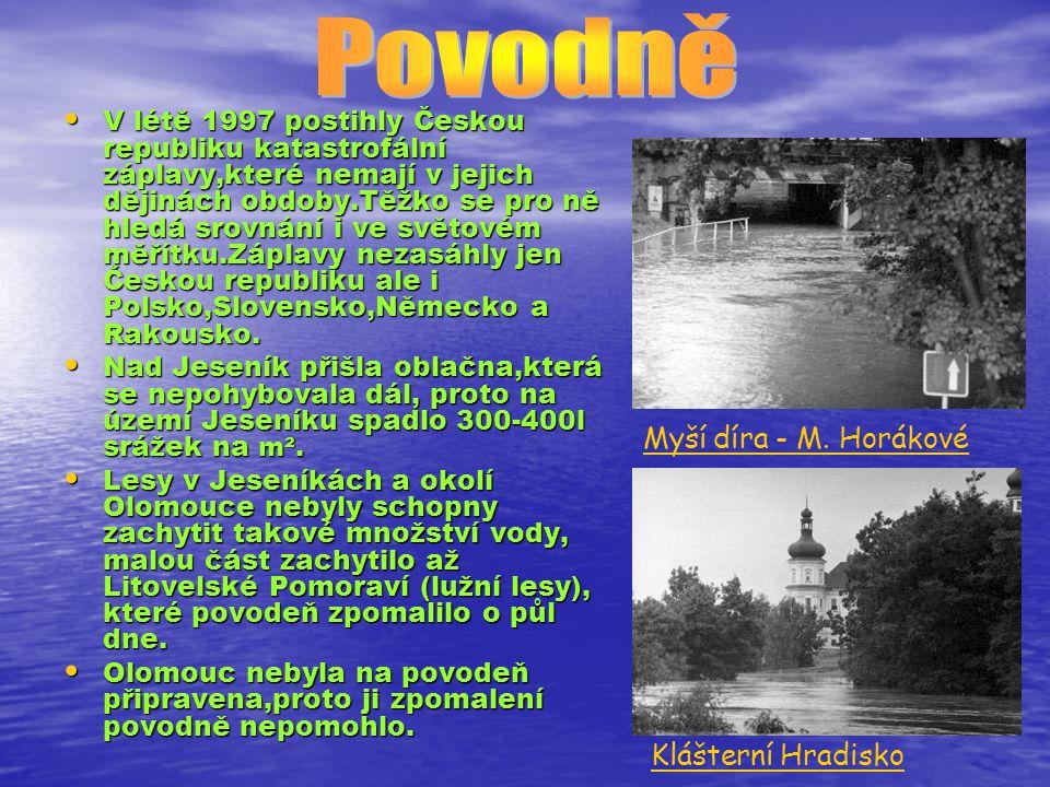V létě 1997 postihly Českou republiku katastrofální záplavy,které nemají v jejich dějinách obdoby.Těžko se pro ně hledá srovnání i ve světovém měřítku