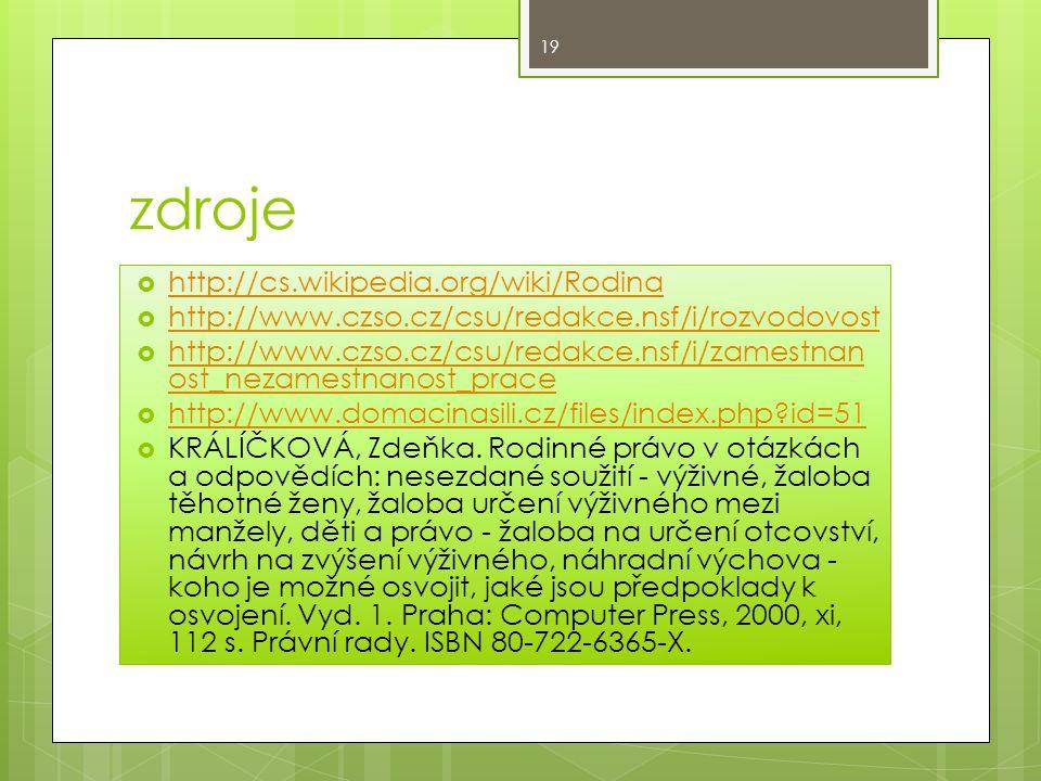 zdroje  http://cs.wikipedia.org/wiki/Rodina http://cs.wikipedia.org/wiki/Rodina  http://www.czso.cz/csu/redakce.nsf/i/rozvodovost http://www.czso.cz/csu/redakce.nsf/i/rozvodovost  http://www.czso.cz/csu/redakce.nsf/i/zamestnan ost_nezamestnanost_prace http://www.czso.cz/csu/redakce.nsf/i/zamestnan ost_nezamestnanost_prace  http://www.domacinasili.cz/files/index.php?id=51 http://www.domacinasili.cz/files/index.php?id=51  KRÁLÍČKOVÁ, Zdeňka.