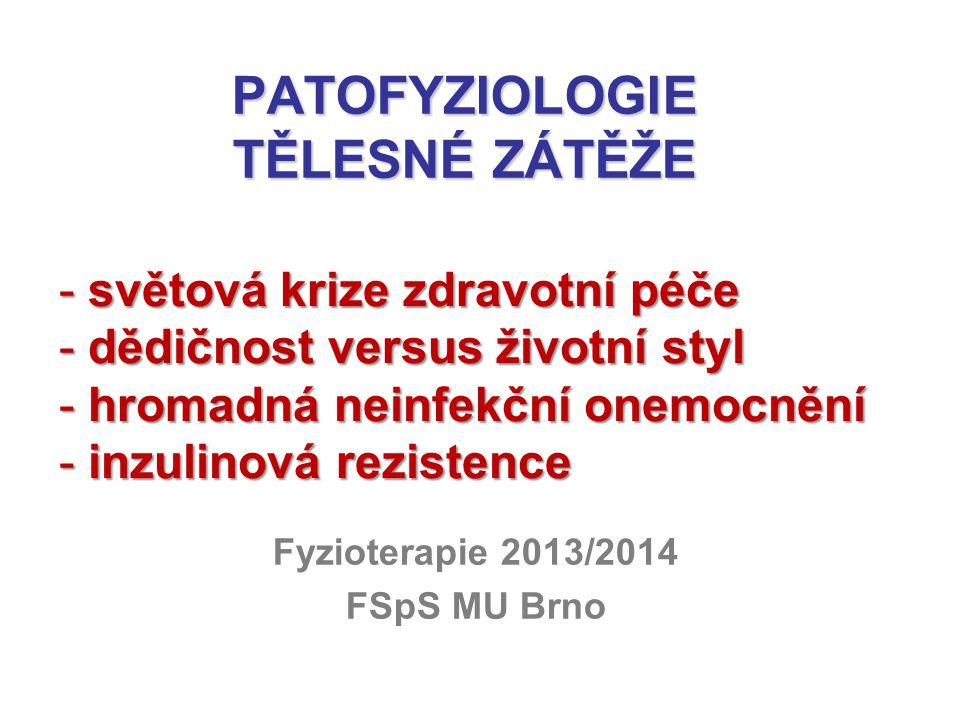 PATOFYZIOLOGIE TĚLESNÉ ZÁTĚŽE Fyzioterapie 2013/2014 FSpS MU Brno - světová krize zdravotní péče - dědičnost versus životní styl - hromadná neinfekční