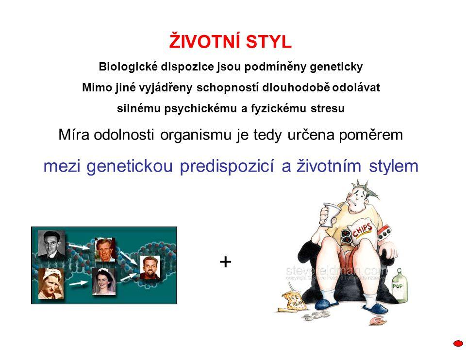 ŽIVOTNÍ STYL Biologické dispozice jsou podmíněny geneticky Mimo jiné vyjádřeny schopností dlouhodobě odolávat silnému psychickému a fyzickému stresu M