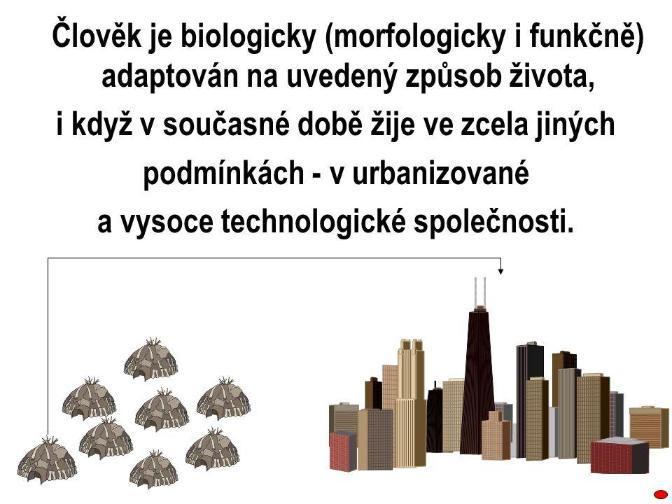 Člověk je biologicky (morfologicky i funkčně) adaptován na uvedený způsob života, i když v současné době žije ve zcela jiných podmínkách ‑ v urbanizov