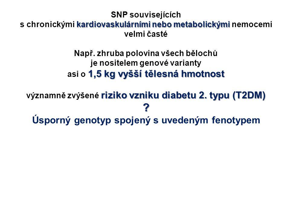 SNP souvisejících kardiovaskulárními nebo metabolickými s chronickými kardiovaskulárními nebo metabolickými nemocemi velmi časté Např. zhruba polovina