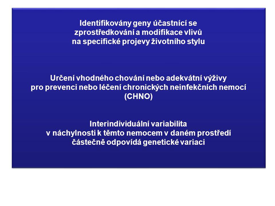 Identifikovány geny účastnící se zprostředkování a modifikace vlivů na specifické projevy životního stylu Určení vhodného chování nebo adekvátní výživ