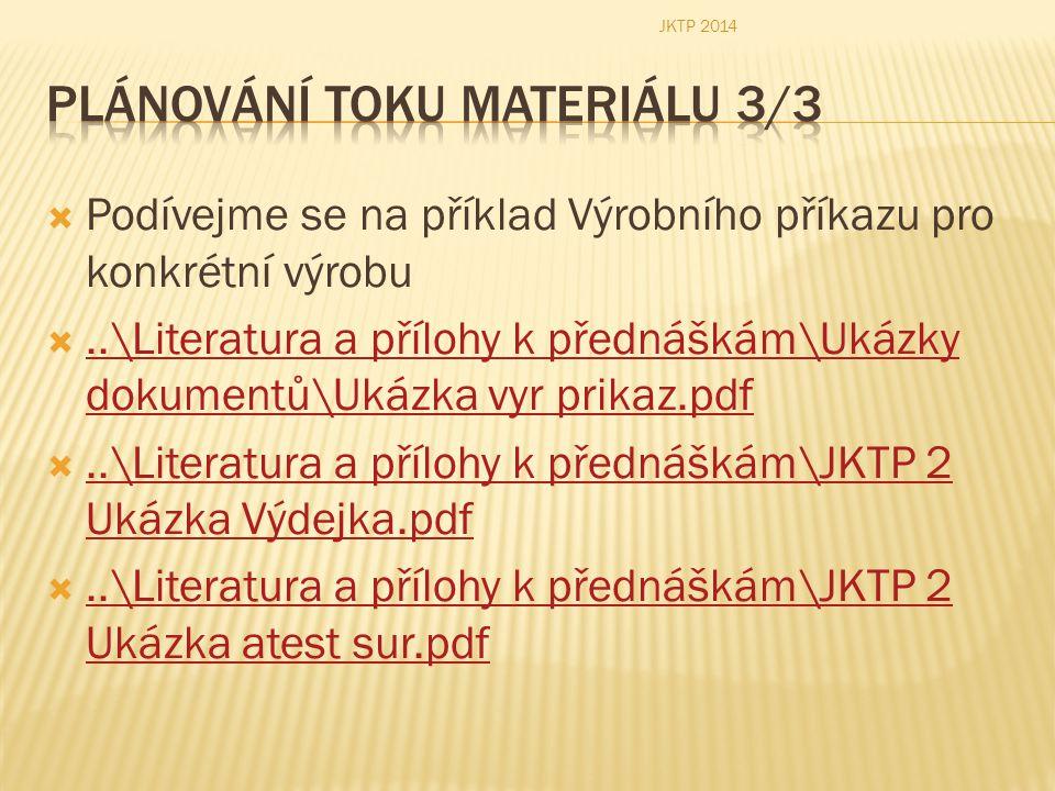  Podívejme se na příklad Výrobního příkazu pro konkrétní výrobu ..\Literatura a přílohy k přednáškám\Ukázky dokumentů\Ukázka vyr prikaz.pdf..\Litera