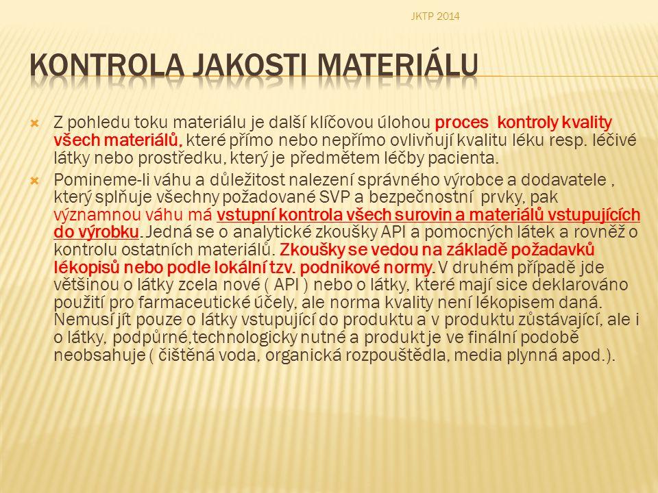  Z pohledu toku materiálu je další klíčovou úlohou proces kontroly kvality všech materiálů, které přímo nebo nepřímo ovlivňují kvalitu léku resp. léč