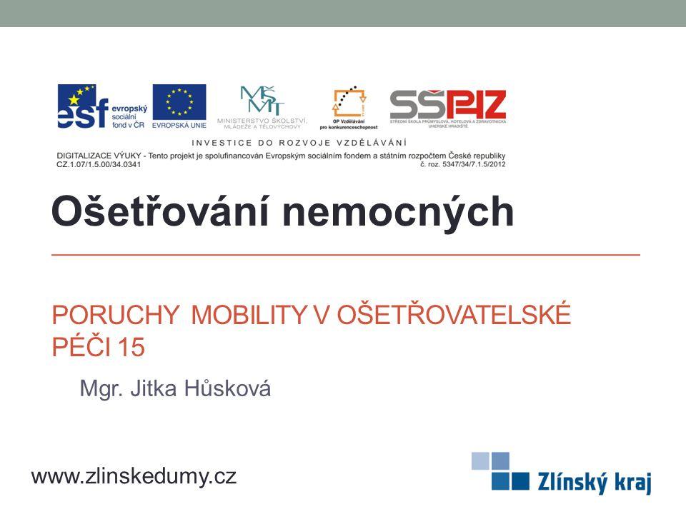 PORUCHY MOBILITY V OŠETŘOVATELSKÉ PÉČI 15 Mgr. Jitka Hůsková Ošetřování nemocných www.zlinskedumy.cz