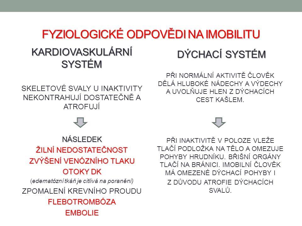 FYZIOLOGICKÉ ODPOVĚDI NA IMOBILITU KARDIOVASKULÁRNÍ SYSTÉM SKELETOVÉ SVALY U INAKTIVITY NEKONTRAHUJÍ DOSTATEČNĚ A ATROFUJÍNÁSLEDEK ŽILNÍ NEDOSTATEČNOS