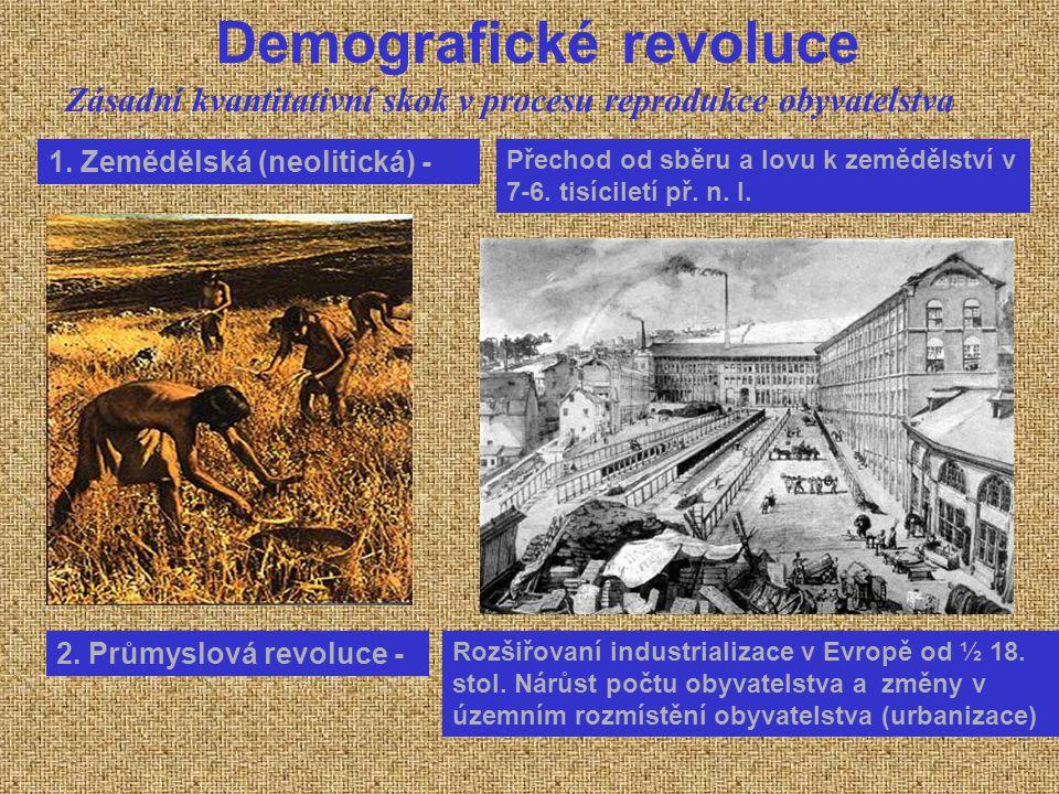 Demografické revoluce 1. Zemědělská (neolitická) - Přechod od sběru a lovu k zemědělství v 7-6. tisíciletí př. n. l. 2. Průmyslová revoluce - Rozšiřov
