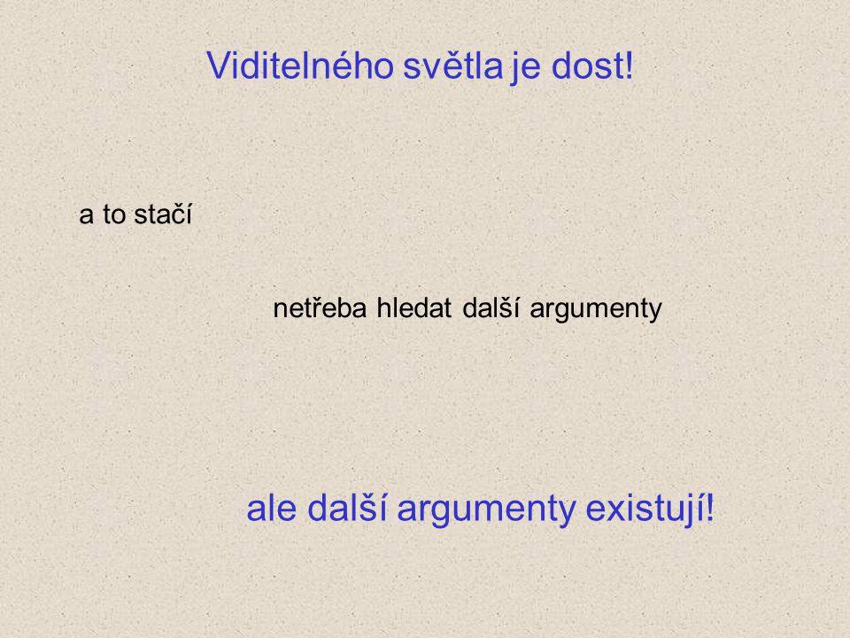 Viditelného světla je dost! a to stačí netřeba hledat další argumenty ale další argumenty existují!