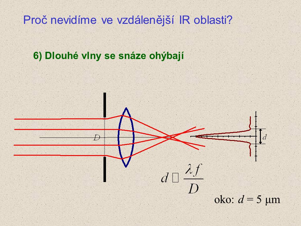 6) Dlouhé vlny se snáze ohýbají oko: d = 5 μm Proč nevidíme ve vzdálenější IR oblasti