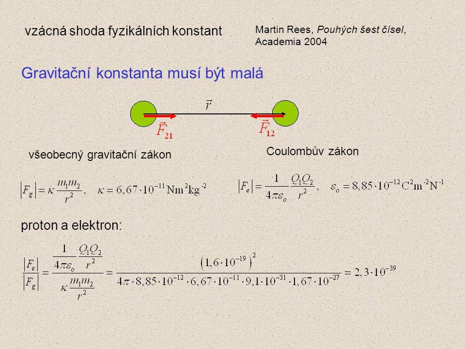 vzácná shoda fyzikálních konstant Martin Rees, Pouhých šest čísel, Academia 2004 Gravitační konstanta musí být malá všeobecný gravitační zákon Coulombův zákon proton a elektron: