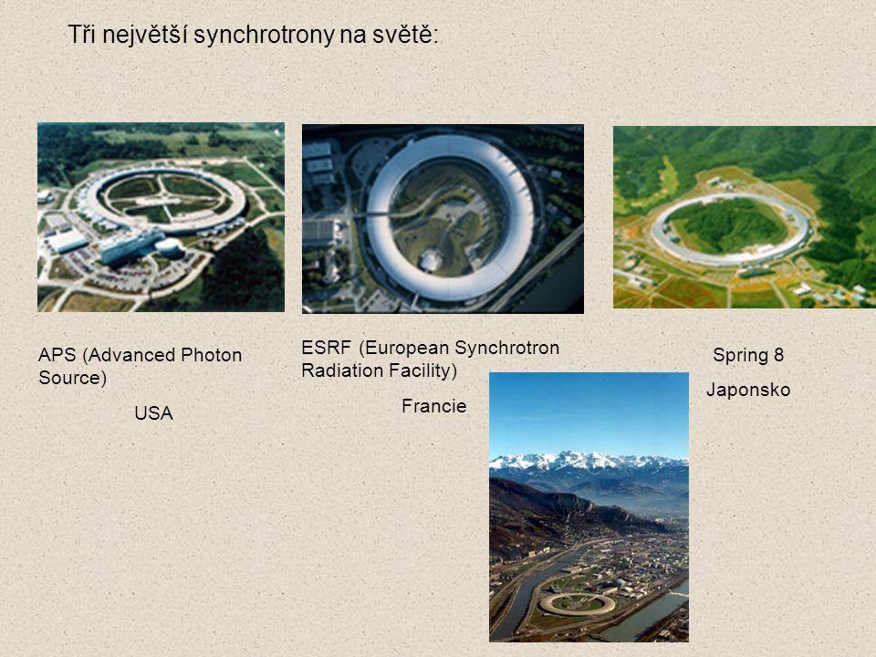 Tři největší synchrotrony na světě: APS (Advanced Photon Source) USA ESRF (European Synchrotron Radiation Facility) Francie Spring 8 Japonsko