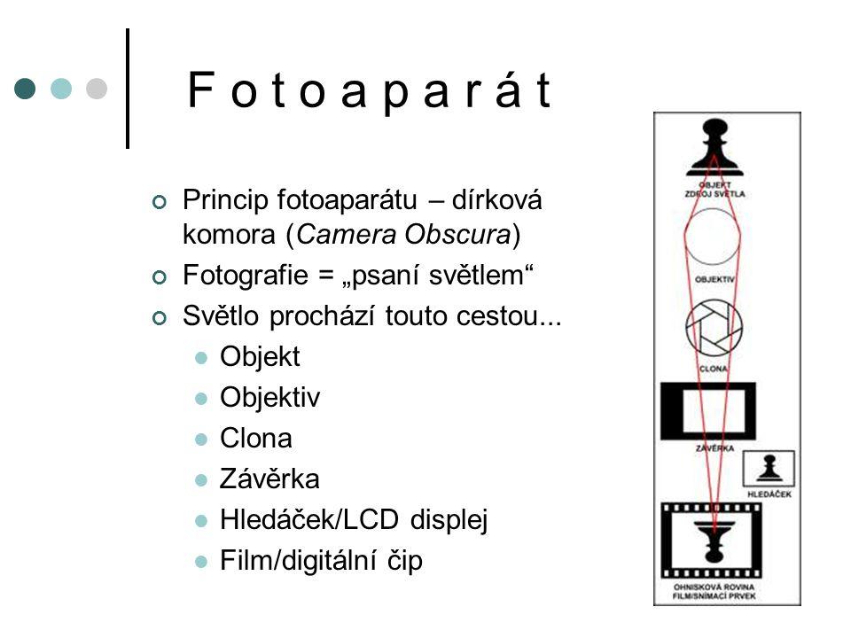 """F o t o a p a r á t Princip fotoaparátu – dírková komora (Camera Obscura) Fotografie = """"psaní světlem Světlo prochází touto cestou..."""