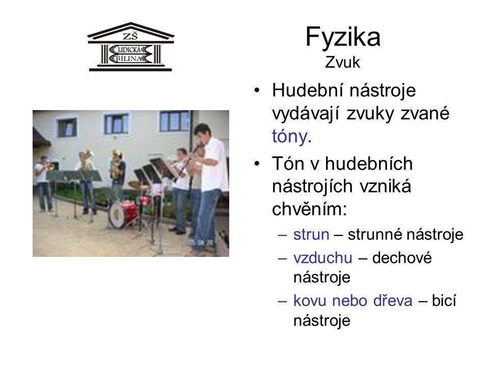 Fyzika Zvuk Hudební nástroje vydávají zvuky zvané tóny. Tón v hudebních nástrojích vzniká chvěním: –strun – strunné nástroje –vzduchu – dechové nástro