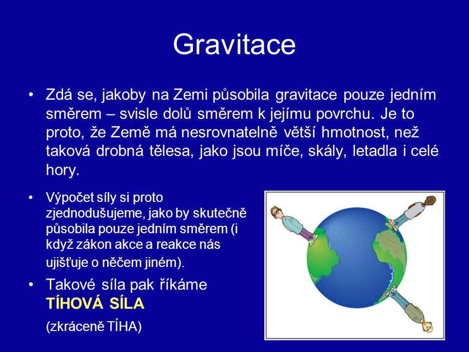Gravitace Zdá se, jakoby na Zemi působila gravitace pouze jedním směrem – svisle dolů směrem k jejímu povrchu.