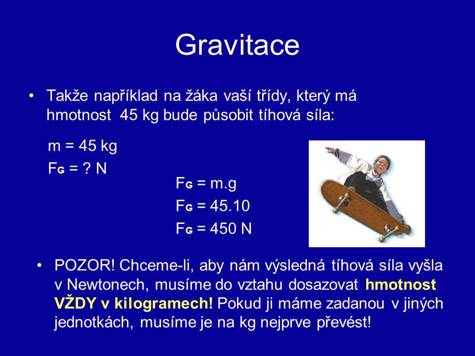 Gravitace Takže například na žáka vaší třídy, který má hmotnost 45 kg bude působit tíhová síla: F G = m.g F G = 45.10 F G = 450 N POZOR! Chceme-li, ab
