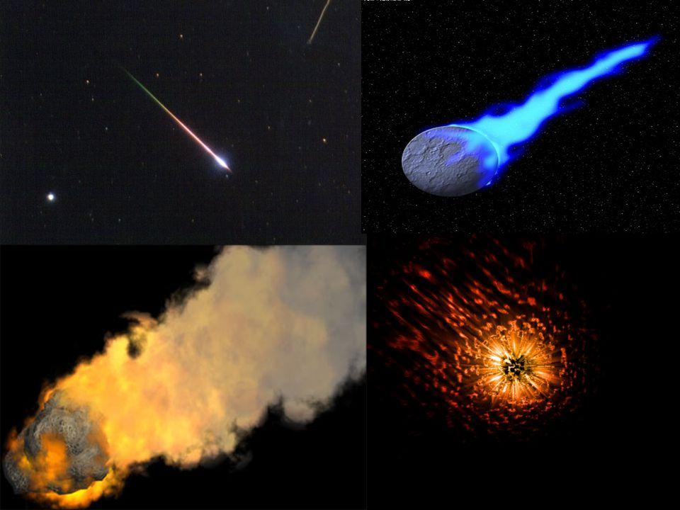 Meteorické roje Meteorické roje Několikrát do roka Několikrát do roka Původci jsou komety,které za sebou zanechávají spoustu hvězdného materiálu Původci jsou komety,které za sebou zanechávají spoustu hvězdného materiálu Naše Země se občas připlete do takového úkazu (meteorický roj) Naše Země se občas připlete do takového úkazu (meteorický roj) Lidem se zdá,že vylétávají pouze z jednoho místa (radiant) Lidem se zdá,že vylétávají pouze z jednoho místa (radiant) Podle místa radiantu dostane meteorický jev své jméno Podle místa radiantu dostane meteorický jev své jméno