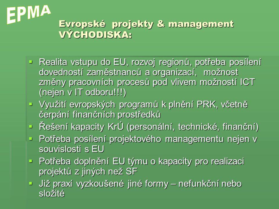 Evropské projekty & management VÝCHODISKA:  Realita vstupu do EU, rozvoj regionů, potřeba posílení dovedností zaměstnanců a organizací, možnost změny pracovních procesů pod vlivem možností ICT (nejen v IT odboru!!!)  Využití evropských programů k plnění PRK, včetně čerpání finančních prostředků  Řešení kapacity KrÚ (personální, technické, finanční)  Potřeba posílení projektového managementu nejen v souvislosti s EU  Potřeba doplnění EU týmu o kapacity pro realizaci projektů z jiných než SF  Již praxí vyzkoušené jiné formy – nefunkční nebo složité
