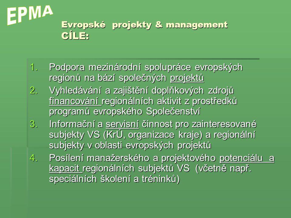 1.Podpora mezinárodní spolupráce evropských regionů na bází společných projektů 2.Vyhledávání a zajištění doplňkových zdrojů financování regionálních aktivit z prostředků programů evropského Společenství 3.Informační a servisní činnost pro zainteresované subjekty VS (KrÚ, organizace kraje) a regionální subjekty v oblasti evropských projektů 4.Posílení manažerského a projektového potenciálu a kapacit regionálních subjektů VS (včetně např.