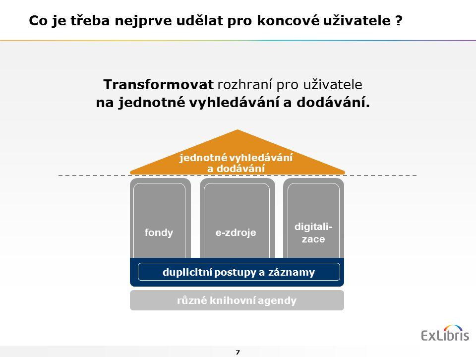 8 každý dotaz uživatele má šanci na úspěch ve všech sbírkách sbírky knihoven jsou viditelné z webu, přítomné na sociálních sítích i na mobilním zařízení uživatele uživatelé knihovnu vnímají jako bránu do uspořádaného národního informačního prostoru příklady: ANL+ http://anlplus.jib.czhttp://anlplus.jib.cz AMGK+ http://amgk.multidata.czhttp://amgk.multidata.cz KALIKO http://kaliko.multidata.czhttp://kaliko.multidata.cz Co jednotné vyhledávání umožní ?