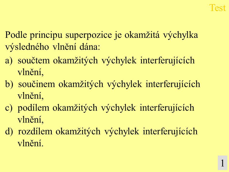 Podle principu superpozice je okamžitá výchylka výsledného vlnění dána: a) součtem okamžitých výchylek interferujících vlnění, b) součinem okamžitých