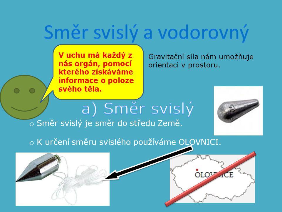 o Směr svislý je směr do středu Země. o K určení směru svislého používáme OLOVNICI. Gravitační síla nám umožňuje orientaci v prostoru. V uchu má každý
