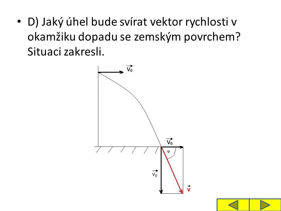 D) Jaký úhel bude svírat vektor rychlosti v okamžiku dopadu se zemským povrchem? Situaci zakresli.
