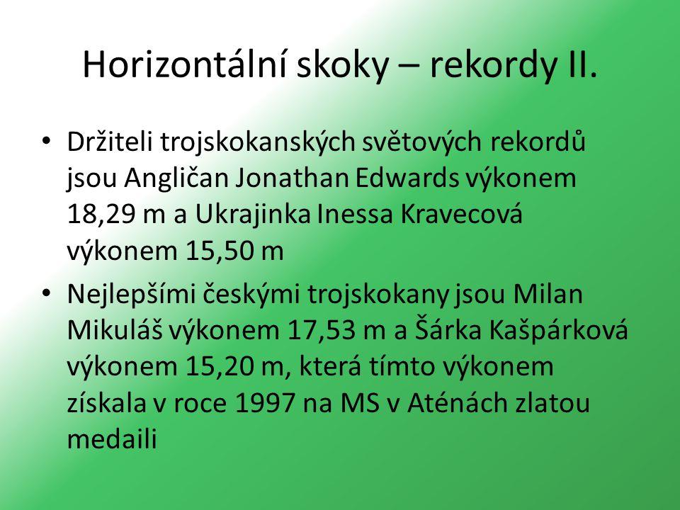 Horizontální skoky – rekordy II. Držiteli trojskokanských světových rekordů jsou Angličan Jonathan Edwards výkonem 18,29 m a Ukrajinka Inessa Kravecov