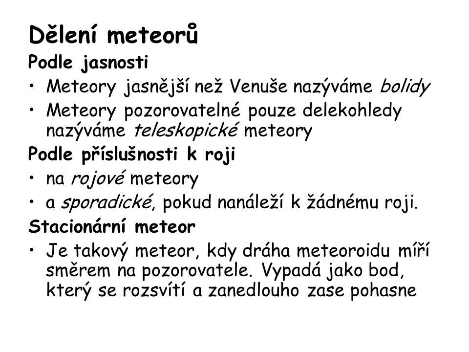 Meteorit je menší kosmické těleso (původně meteoroid), které díky příznivým podmínkám dopadlo na povrch Země Na povrch Země dopadne každodenně několik tisíc meteoritů Zajímavosti Každý rok stoupne váha planety o 10 000 tun díky tomu že do její atmosféry vstupují meteority Většina těchto meteoritů jsou zrnka prachu, ale některé jsou velké mnoho metrů Největší známý meteorit byl nalezen v Nambii v roce 1920- vážil cca 55 000 kg