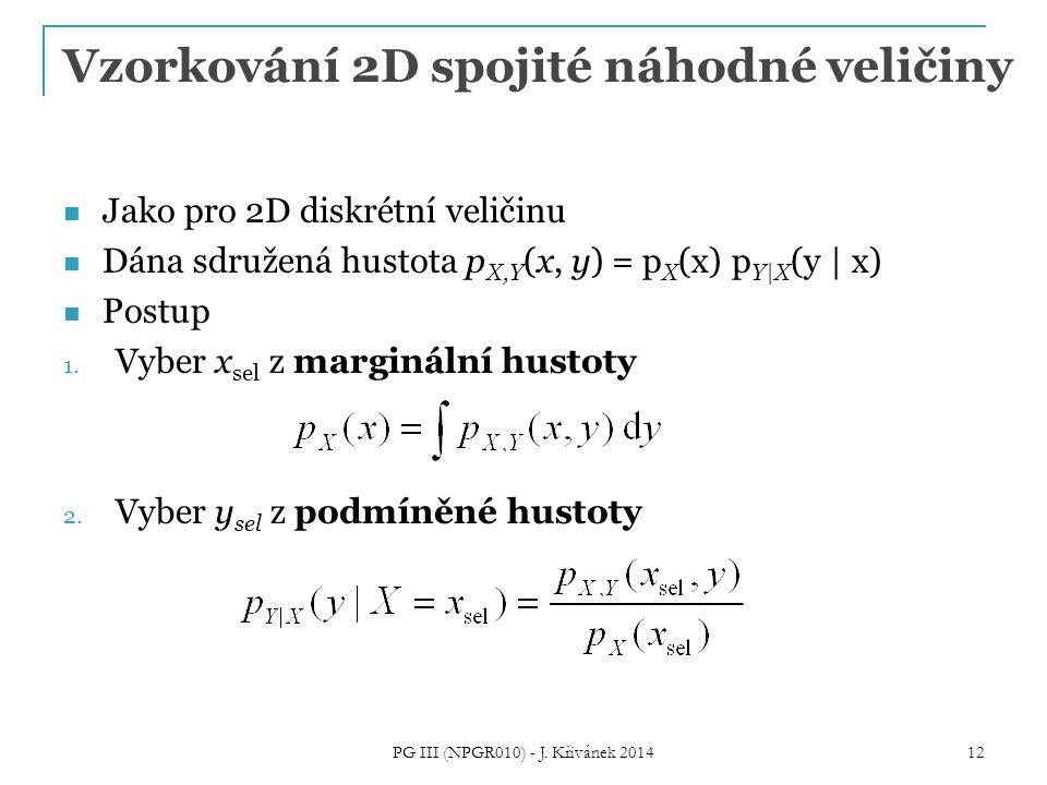 Vzorkování 2D spojité náhodné veličiny Jako pro 2D diskrétní veličinu Dána sdružená hustota p X,Y (x, y) = p X (x) p Y|X (y | x) Postup 1. Vyber x sel