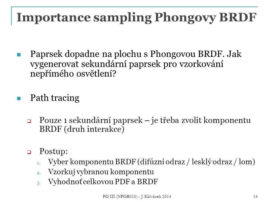 Importance sampling Phongovy BRDF Paprsek dopadne na plochu s Phongovou BRDF. Jak vygenerovat sekundární paprsek pro vzorkování nepřímého osvětlení? P